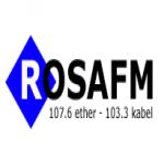 Logo da emissora Rosa 107.6 FM