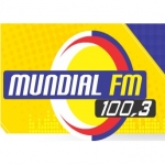Logo da emissora Rádio Mundial 100.3 FM