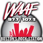 Logo da emissora Radio WAAF 97.7 & 107.3 FM