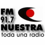 Logo da emissora Radio Nuestra 91.7 FM