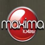 Logo da emissora Maxima 104.3 FM