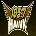Logo da emissora WCHR Hawk 105.7 FM