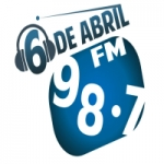 Logo da emissora Rádio Seis de Abril 98.7 FM