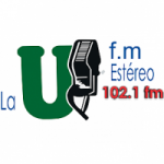 Logo da emissora Radio La U FM Estéreo 102.1 FM