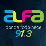 Logo da emissora Radio Alfa 91.3 FM