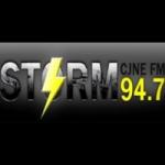 Logo da emissora Radio CJNE The Storm 94.7 FM