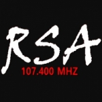 Logo da emissora R.S.A. Radio 107.4 FM