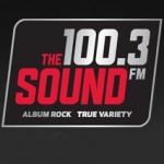 Logo da emissora KRBV 100.3 FM The Sound