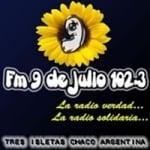 Logo da emissora Radio 9 de Julio 102.3 FM