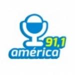 Logo da emissora Rádio América 91.1 FM
