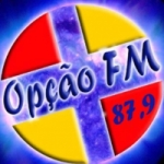 Logo da emissora Rádio Opção 87.9 FM