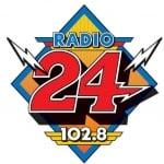 Logo da emissora Radio-24 102.8 FM