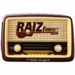 Logo da emissora Rádio Raiz 98.7 FM