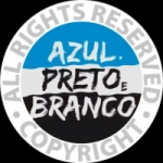 Logo da emissora Rádio Azul Preto e Branco