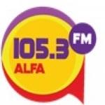 Logo da emissora Rádio Alfa 105.3 FM